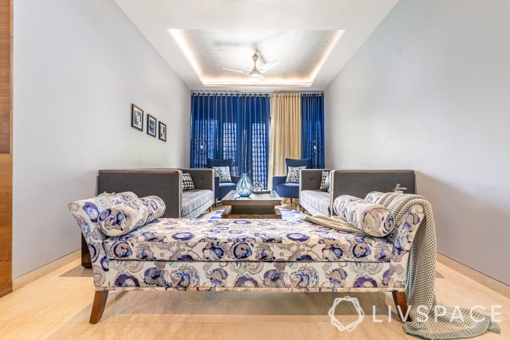 small living room-grey sofa-daybed design-blue curtains