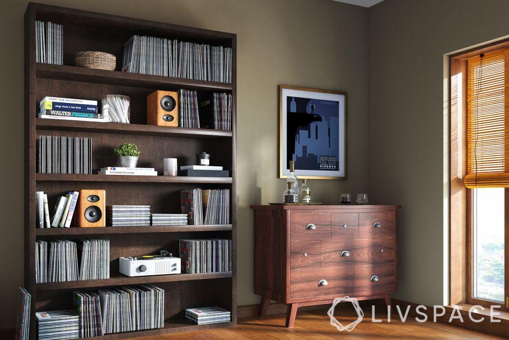 bedroom makeover-heavy duty shelf-open racks-closed cabinet