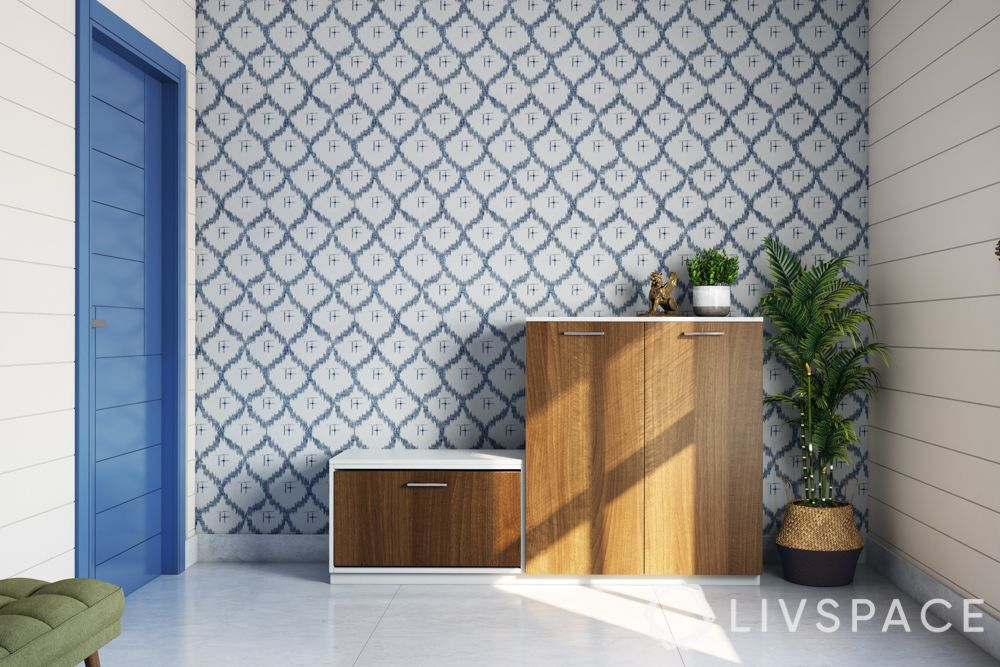 bedroom makeover-catch all cabinets-wallpaper