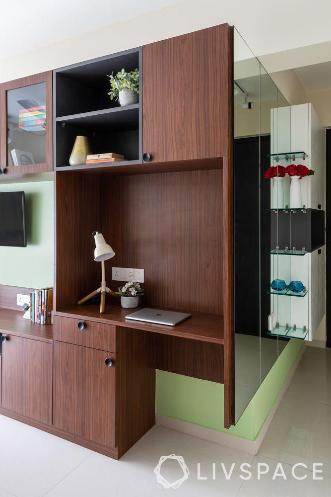 bedroom makeover-multifunctional furniture-dresser-study unit-entertainment unit