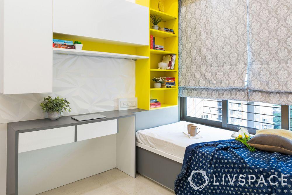 bedroom makeover tips-hydraulic bed-study cum shelf