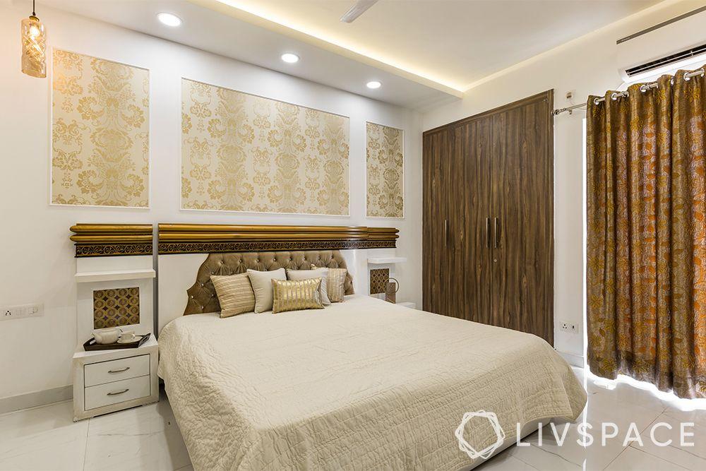 top interior designers in Delhi-metallic wallpaper-wardrobe-lighting