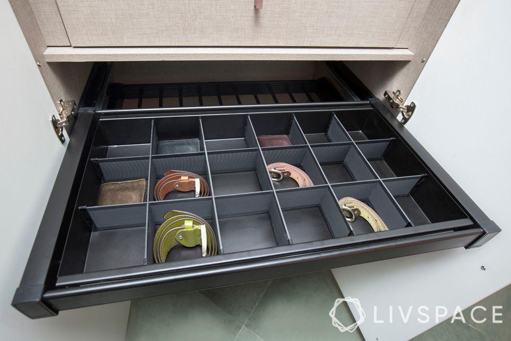 latest wardrobe design-organisation drawer-belts