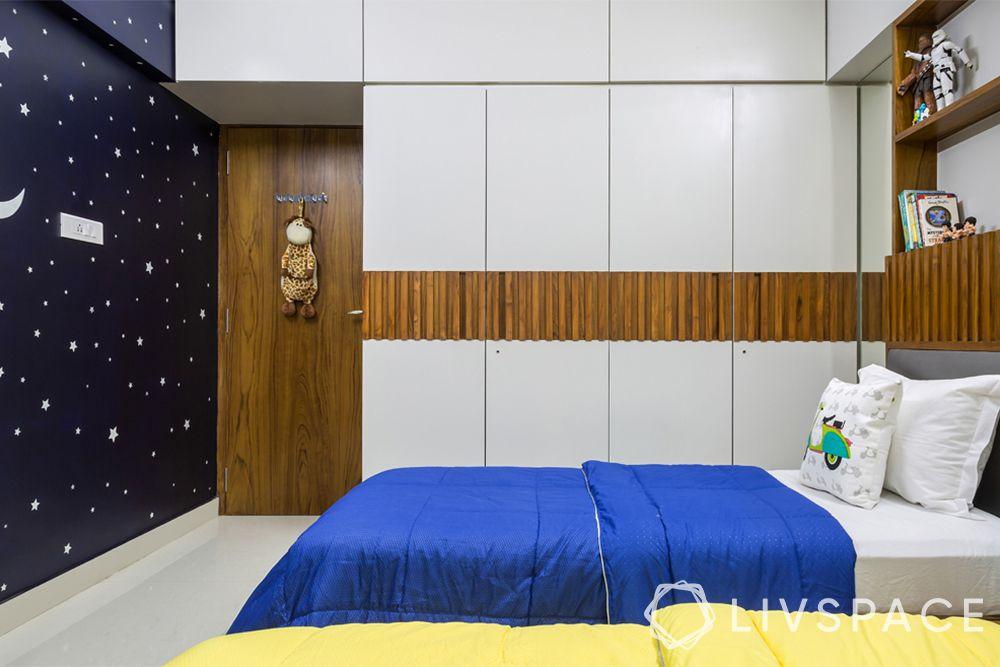 modern wardrobe design-loft-sliding wardrobe-wooden belt-bed-wallpaper