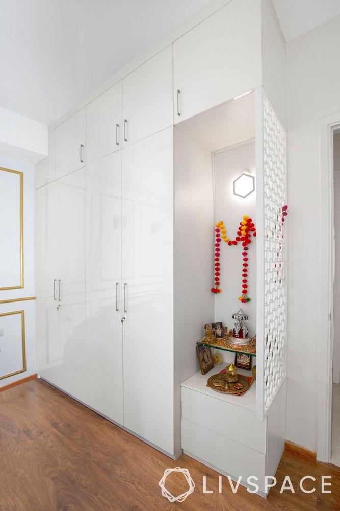 latest wardrobe design-loft-white wardrobe-mandir with wardrobe-jaali partition