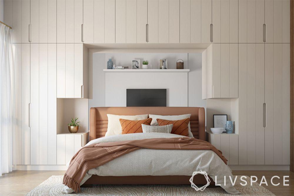 modern wardrobe design-wardrobe with bed