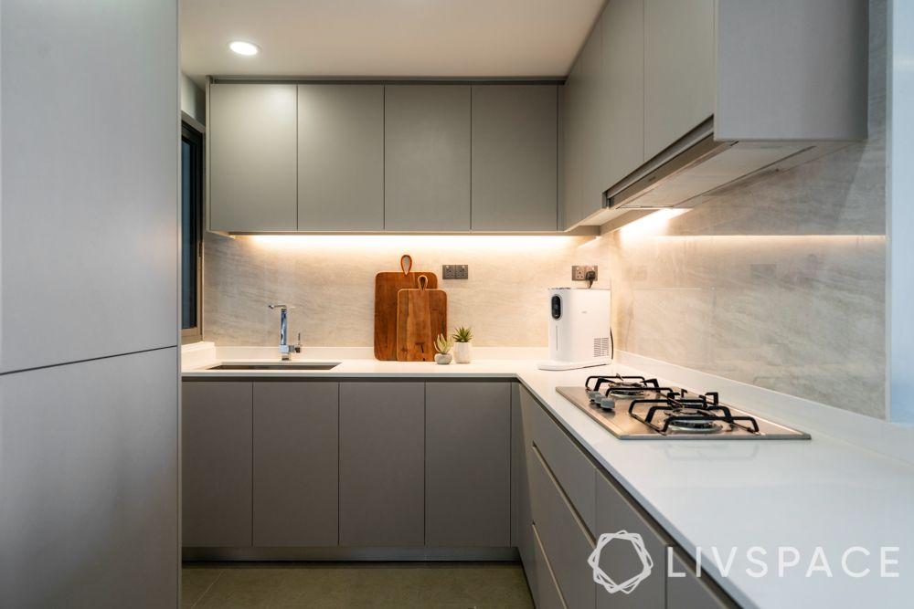 quartz countertop-beige cabinets-profile lighting