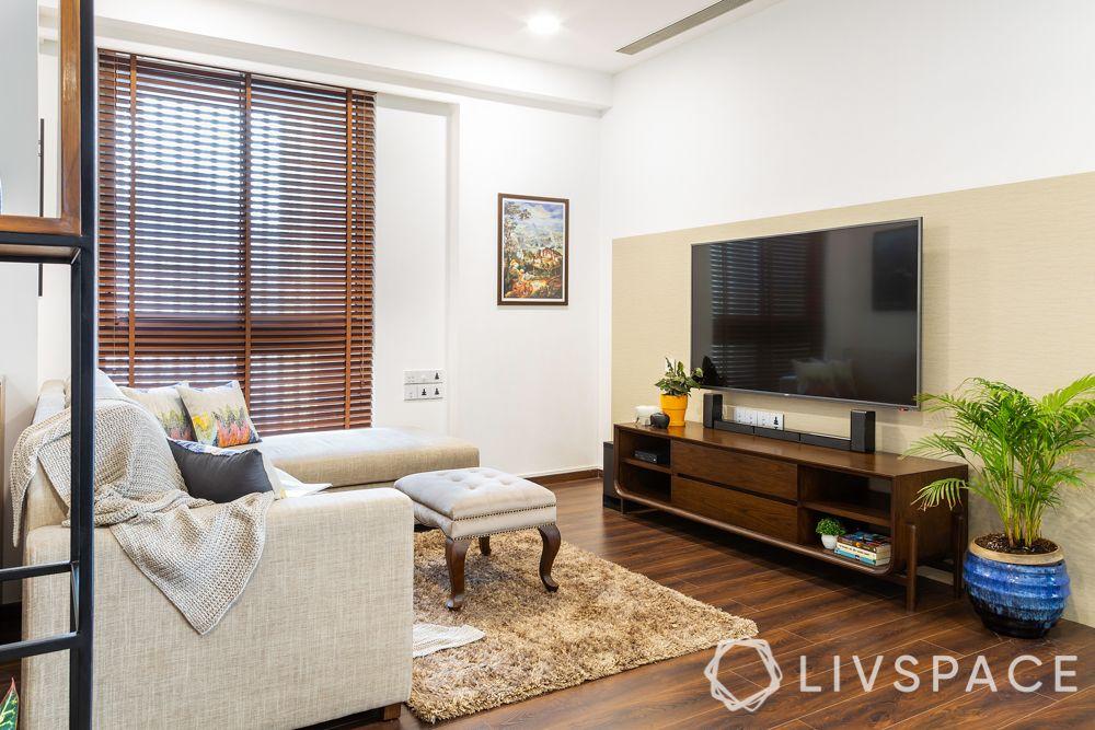 tv-wall-decoration-stand-alone-unit-dark-wood-beige-back-panel