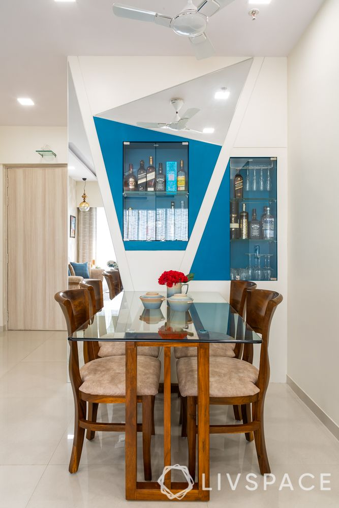 small-house-design-plans-bar-unit-dining-room-blue-white-panel-mirrors