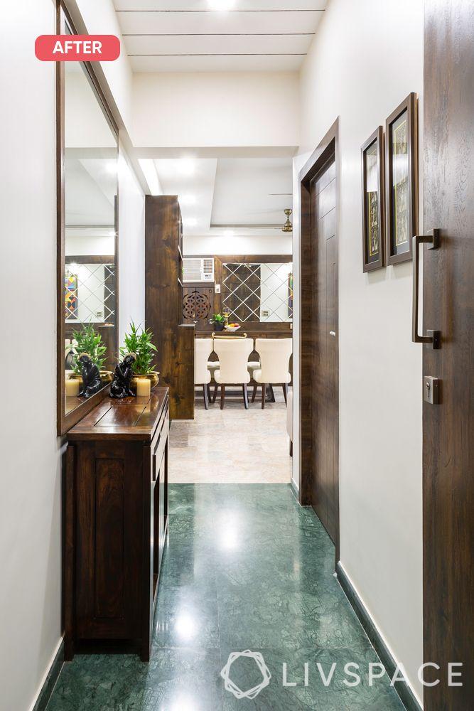 mumbai flat-after photo-foyer-console table-mirror-laminate frame