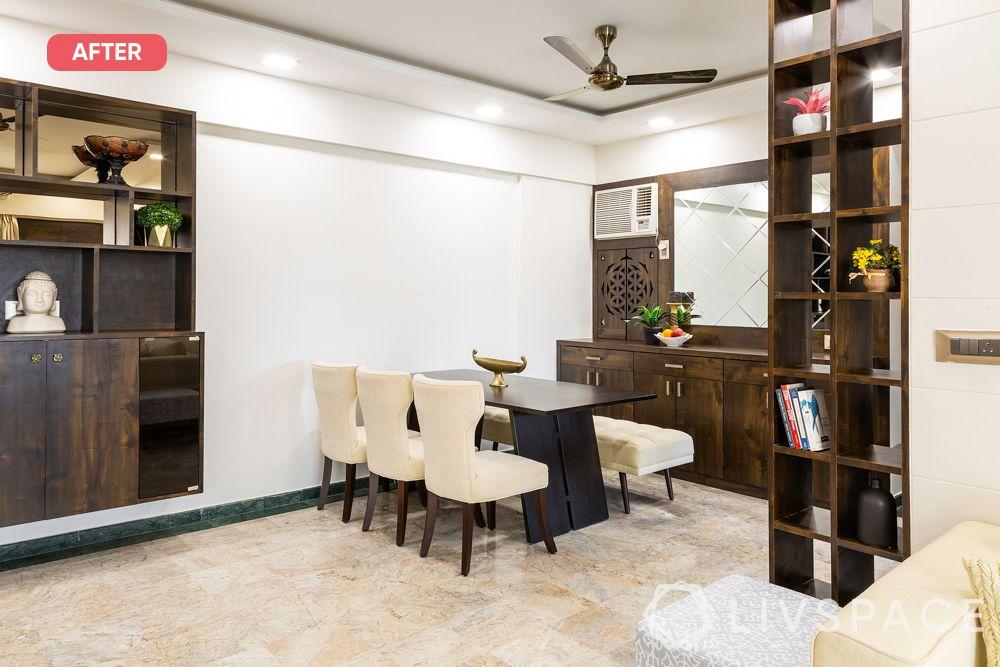 mumbai flat-after photo-dining room-wooden laminate crockery unit-wooden laminate mandir-wooden laminate bar unit-wooden laminate tall unit