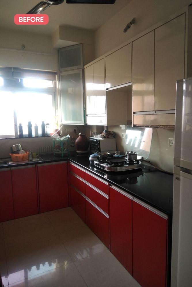 mumbai house-before photo-kitchen-red cabinets