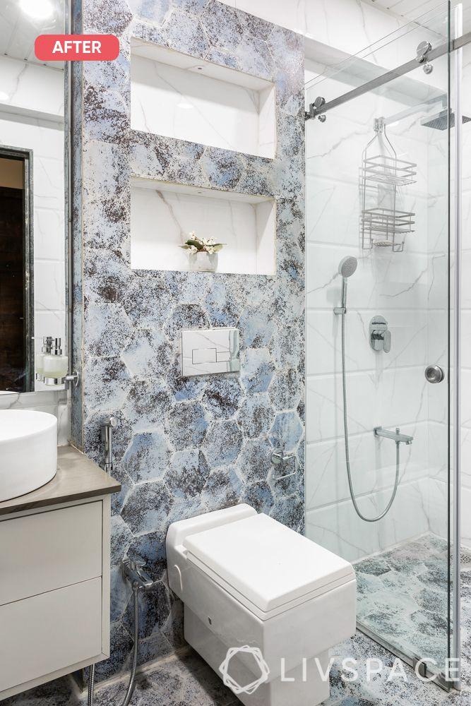 mumbai flat-after image-bathroom-ceramic tiles-wall niche
