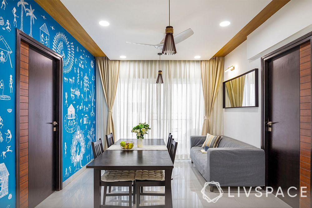 living room designs Indian apartments-Warli art