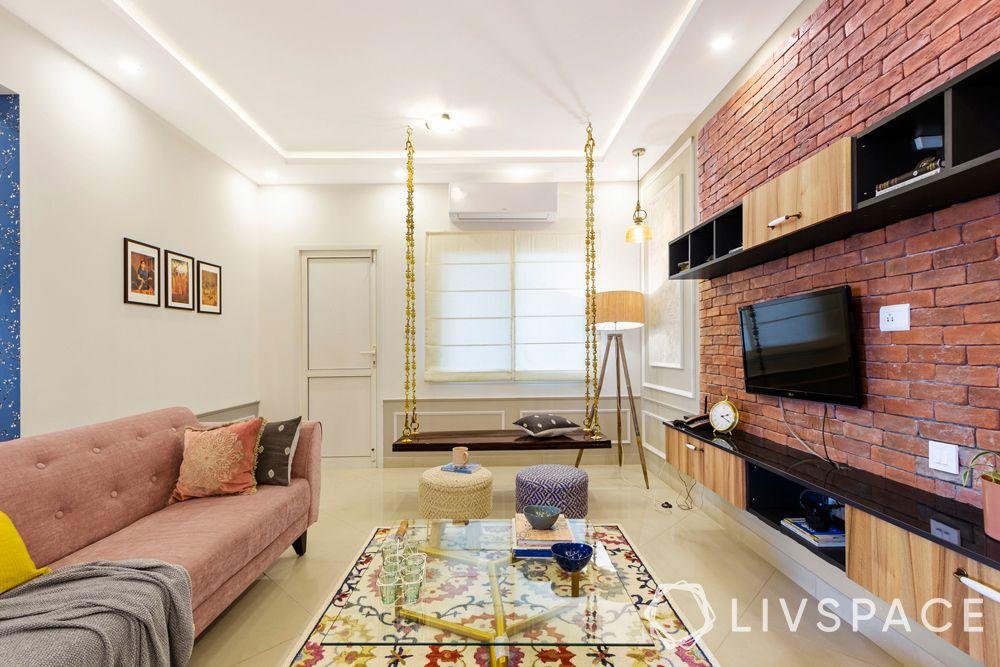 simple living room designs-jhoola-TV unit-rug