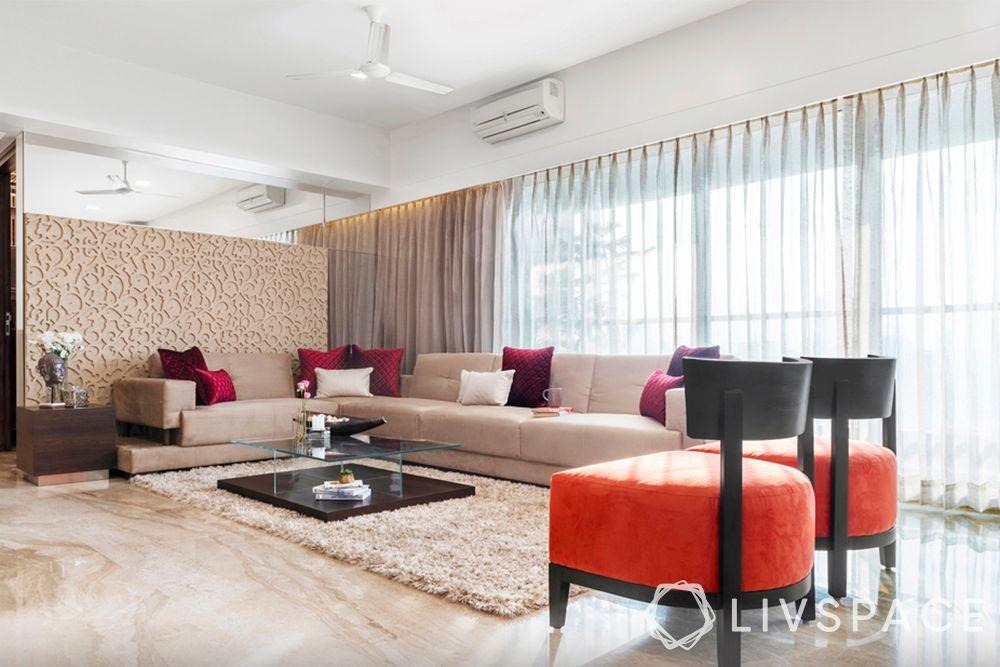 living room designs-minimal glam living room-pops of orange