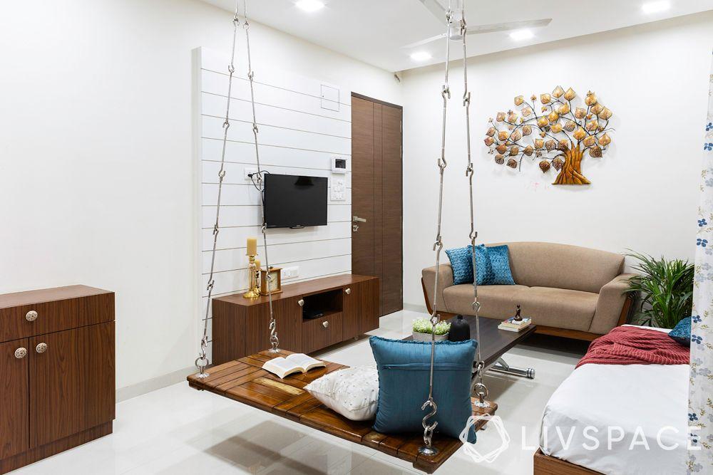 living room designs-small living room-jhula-seating-storage