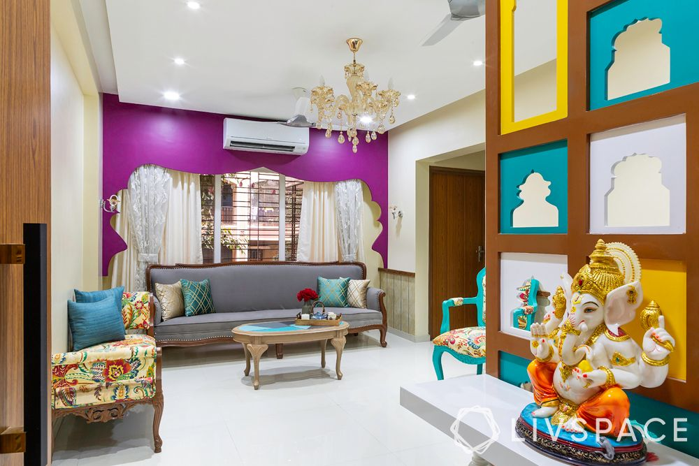 living room designs-arch designs-sofa-accent chairs-Ganesha-curvy furniture-colours