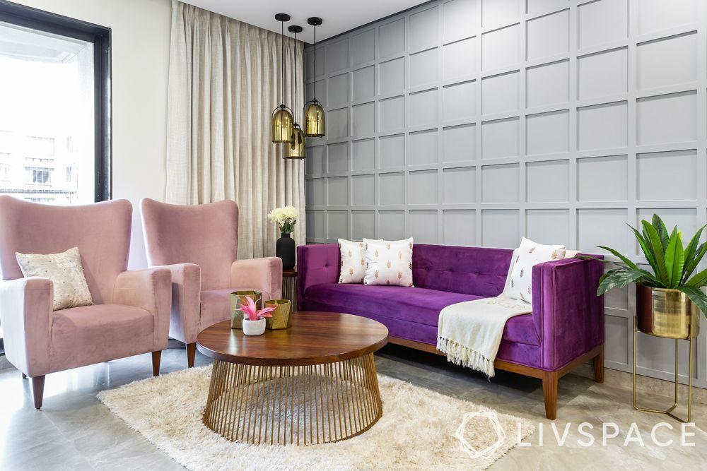 living room designs-eclectic living room-batten board wall-wood-metallic pendant lights