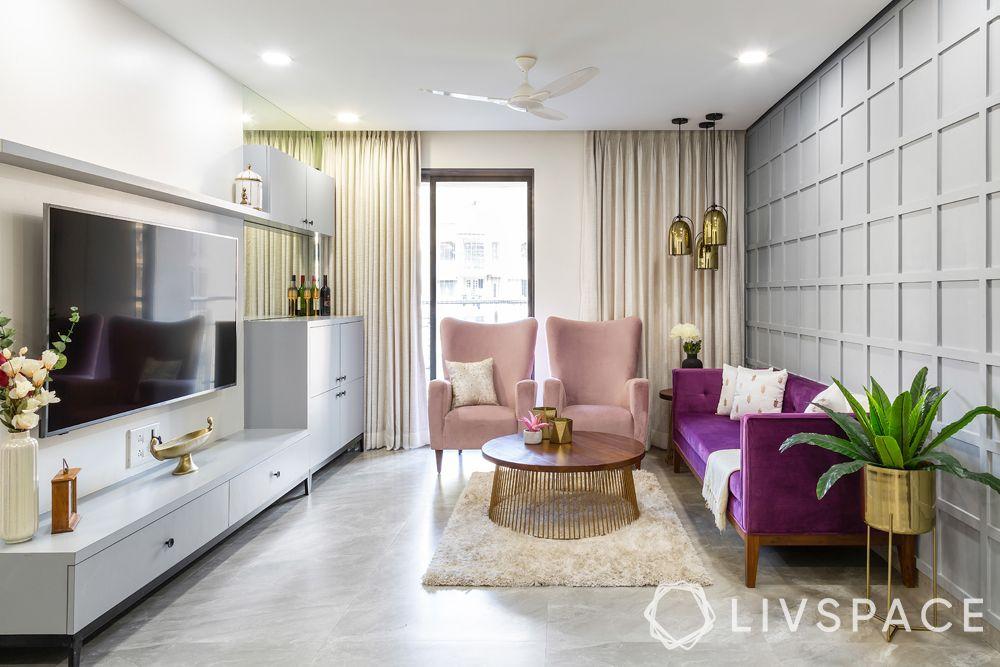 simple living room designs-seating-TV unit