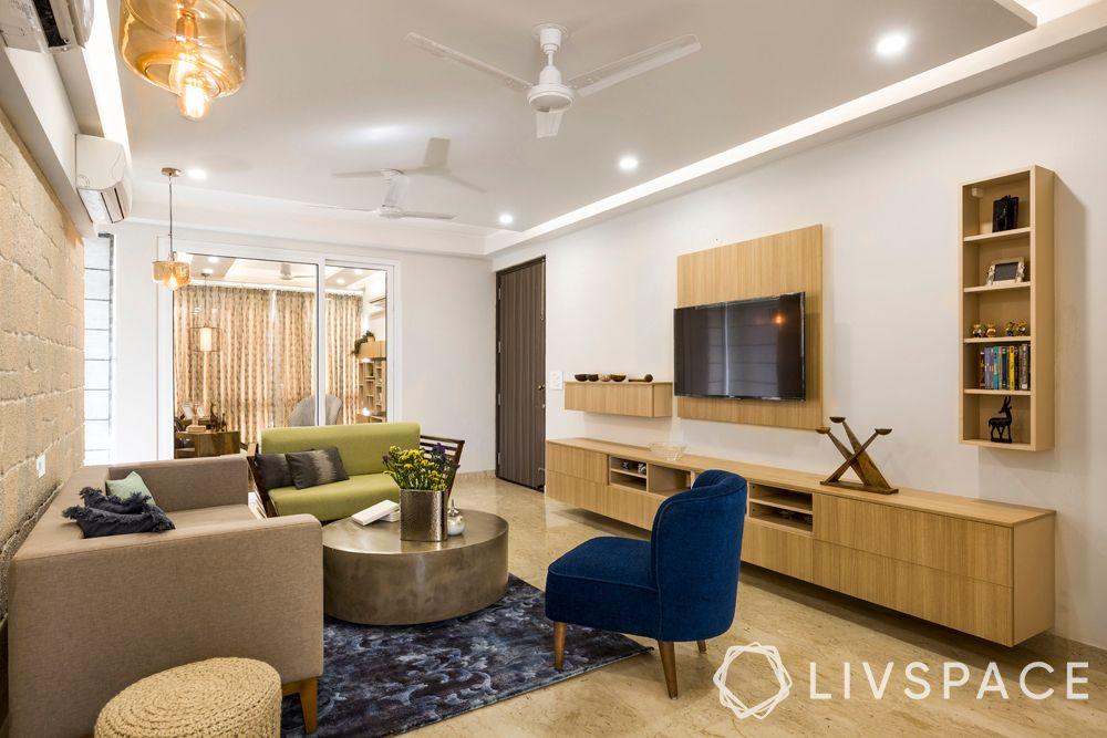 living room designs-Scandinavian living room-wooden furniture-warm materials