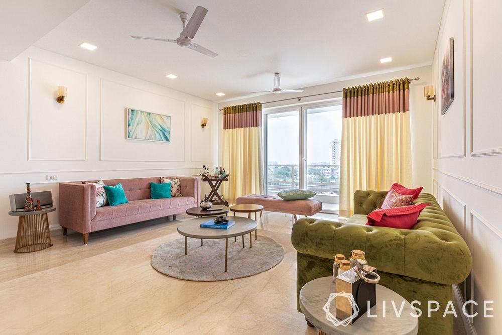 living room designs-pastel sofa-olive green sofa-wall trims