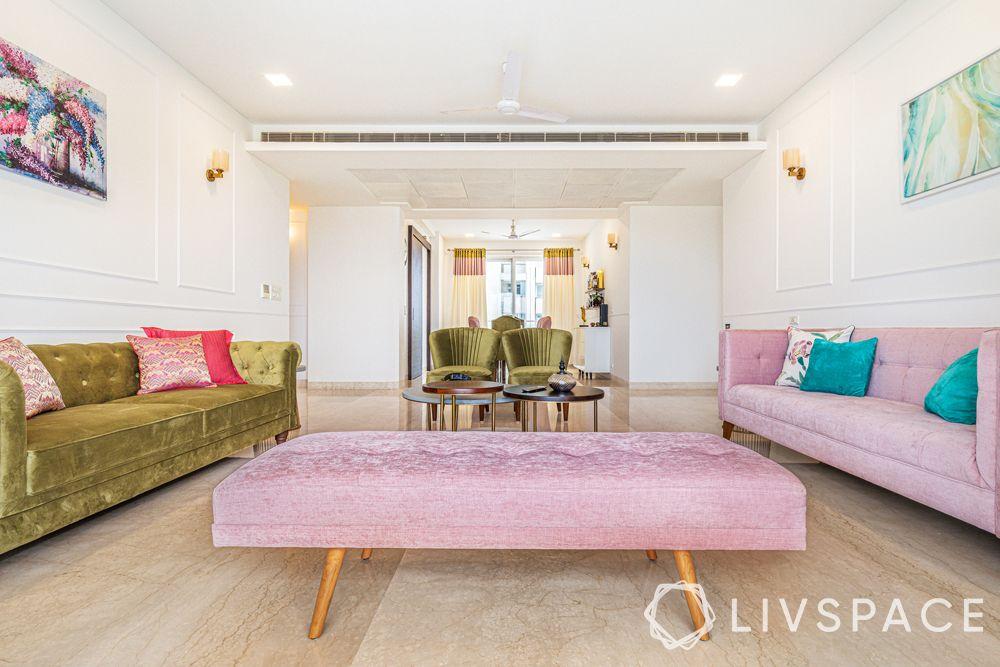 modern living room designs-dusty pink Zuri bench-dusty pink sofa-olive green sofa-olive green accent chairs
