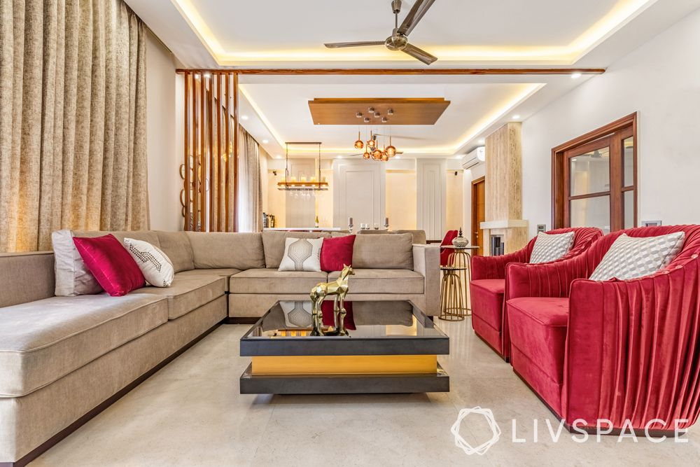 modern living room designs-ample seating-centre table-false ceiling