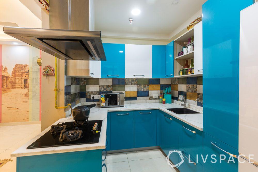 maximalism-blue-white-kitchen-u-shaped