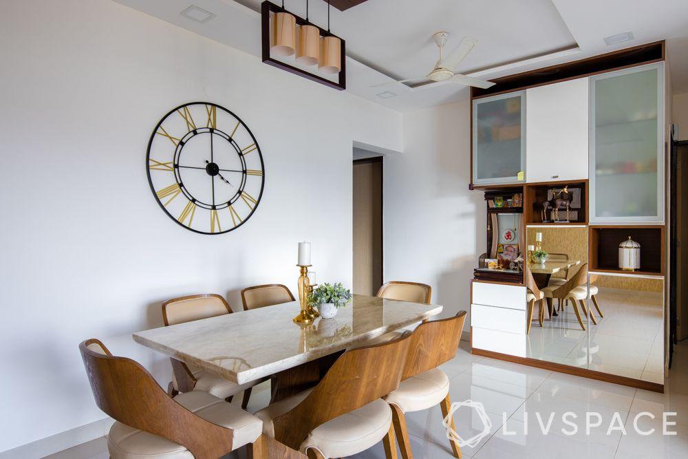 design small houses-dining room-art deco-mirror crockery unit