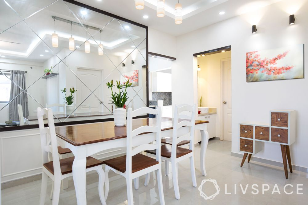 low budget simple house design-dining room-mirror panelling