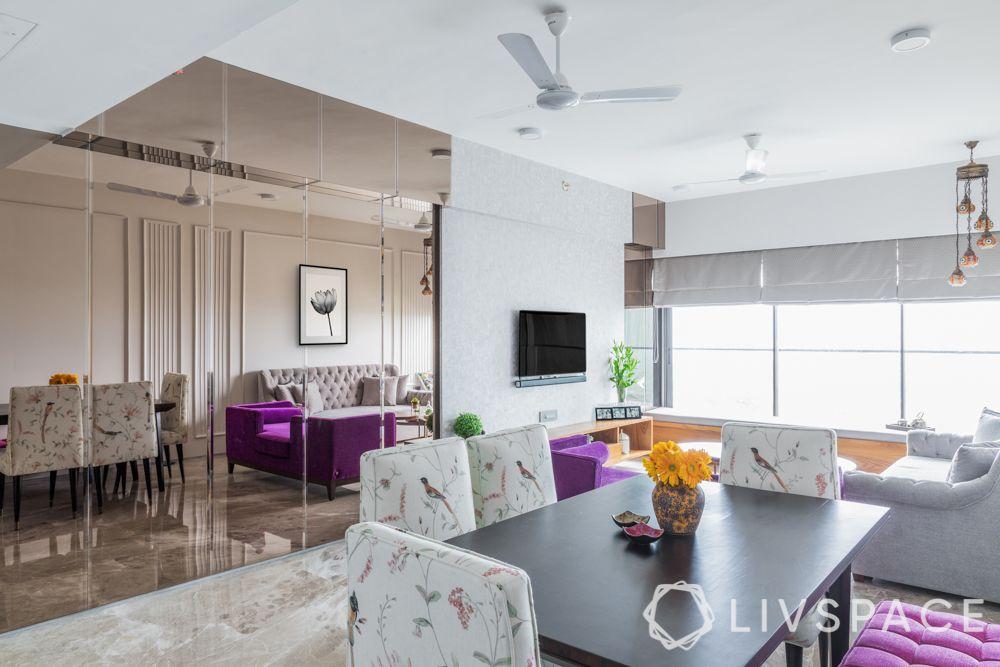 small house design ideas-dining room-mirror wall-wall trims-purple sofa