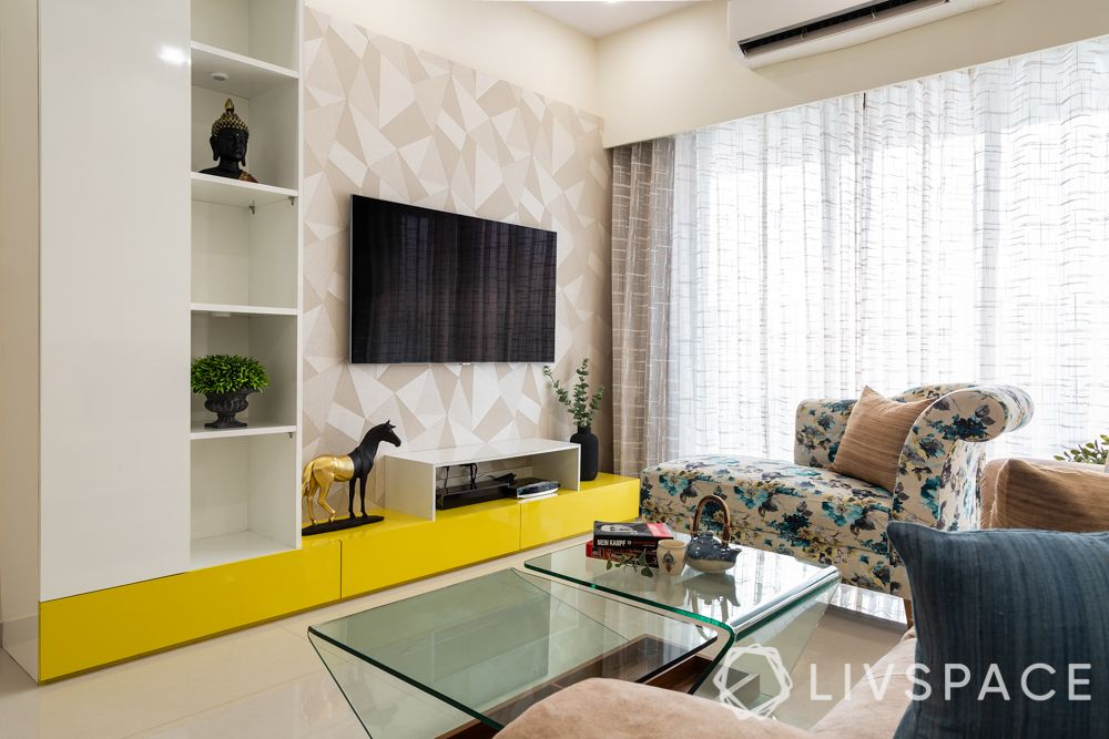 small house design ideas-living room-TV unit-open and closed shelves-tall unit