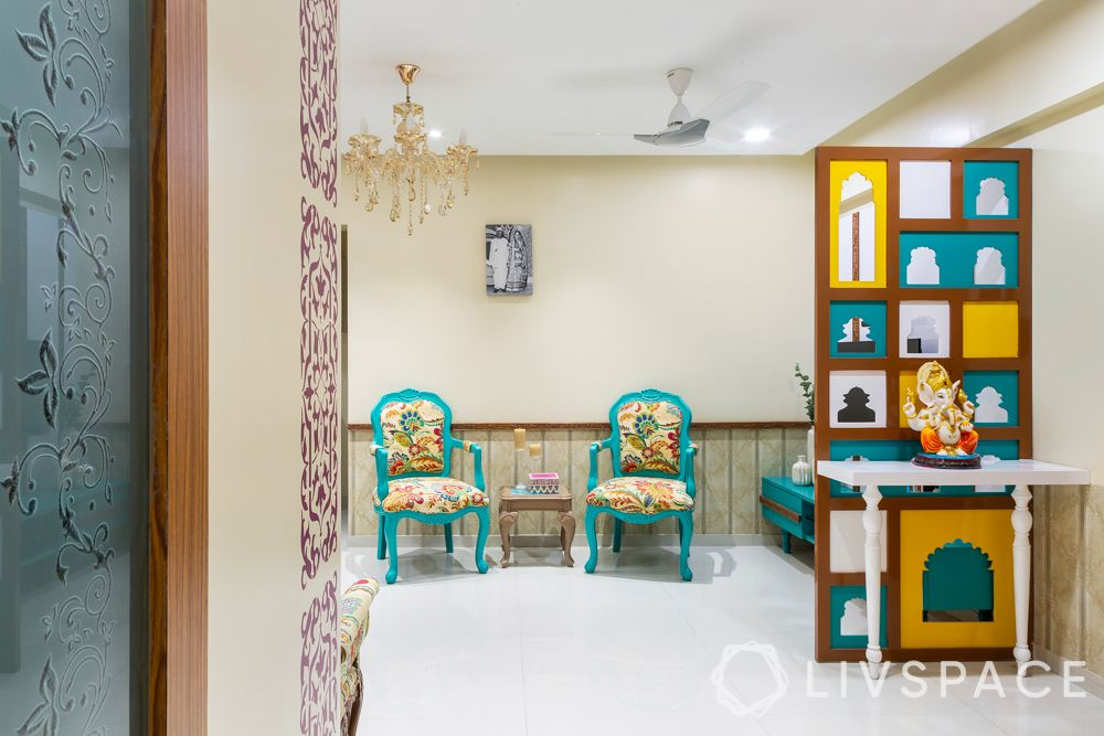 foyer decor- floral chairs-Ganesha-partition