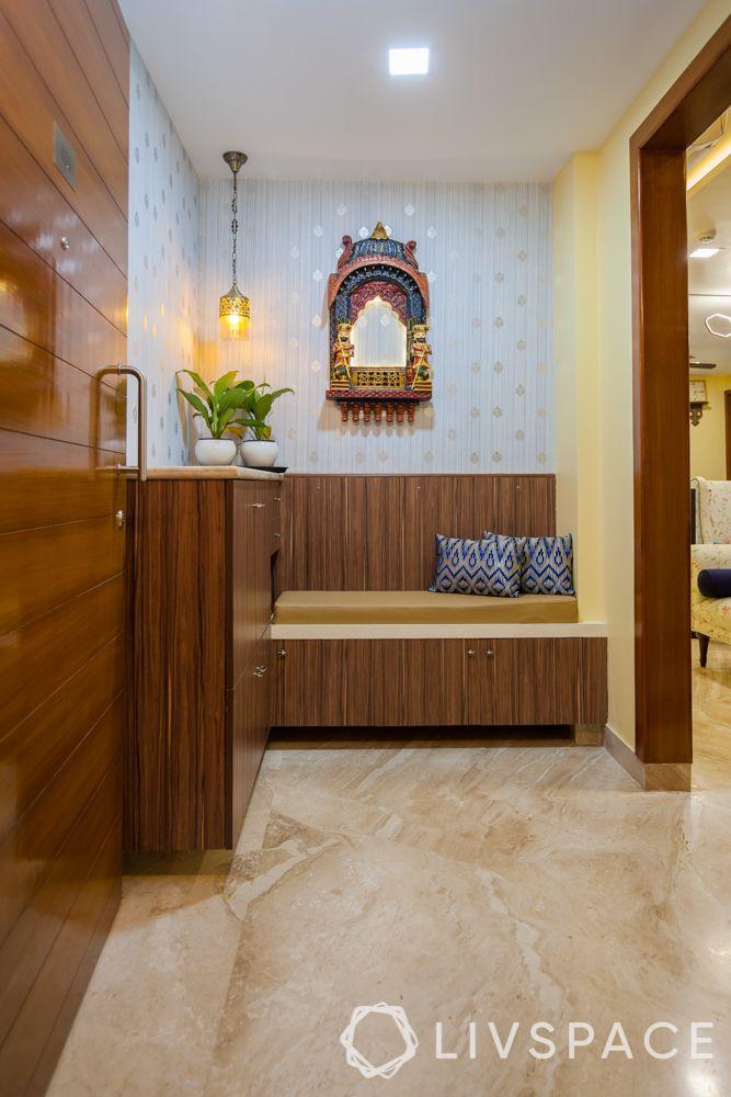 foyer decor-floor-wooden cabinets-wall decor-lighting