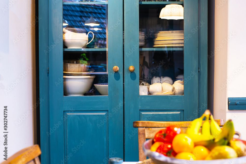 blue crockery unit-kitchen furniture