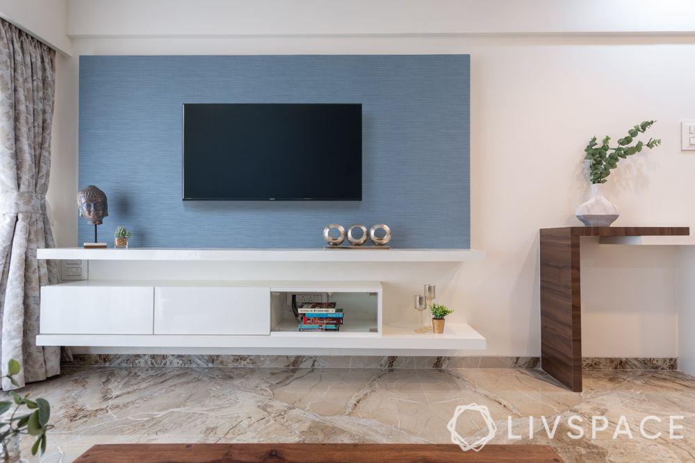 tv showcase-blue panel-white tv unit