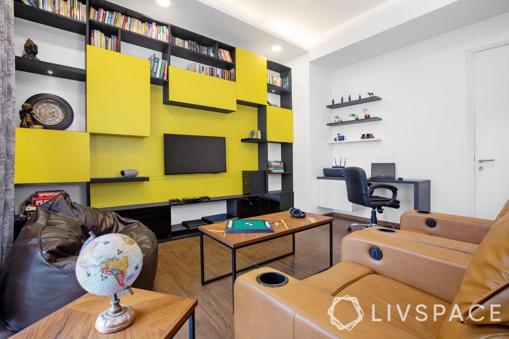 tv showcase-yellow tv unit