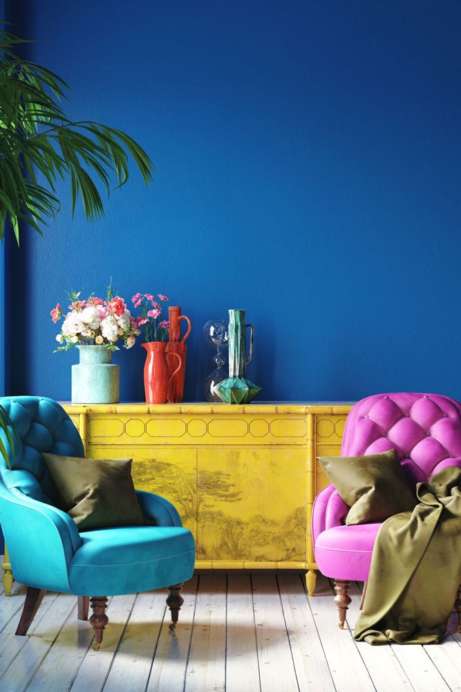 small house design-colourful accent chairs-blue wall-yellow furniture