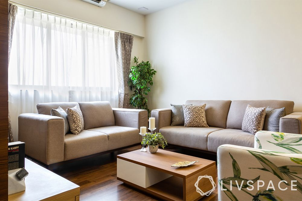 small modern house design-living room-neutrals-white walls-beige sofa