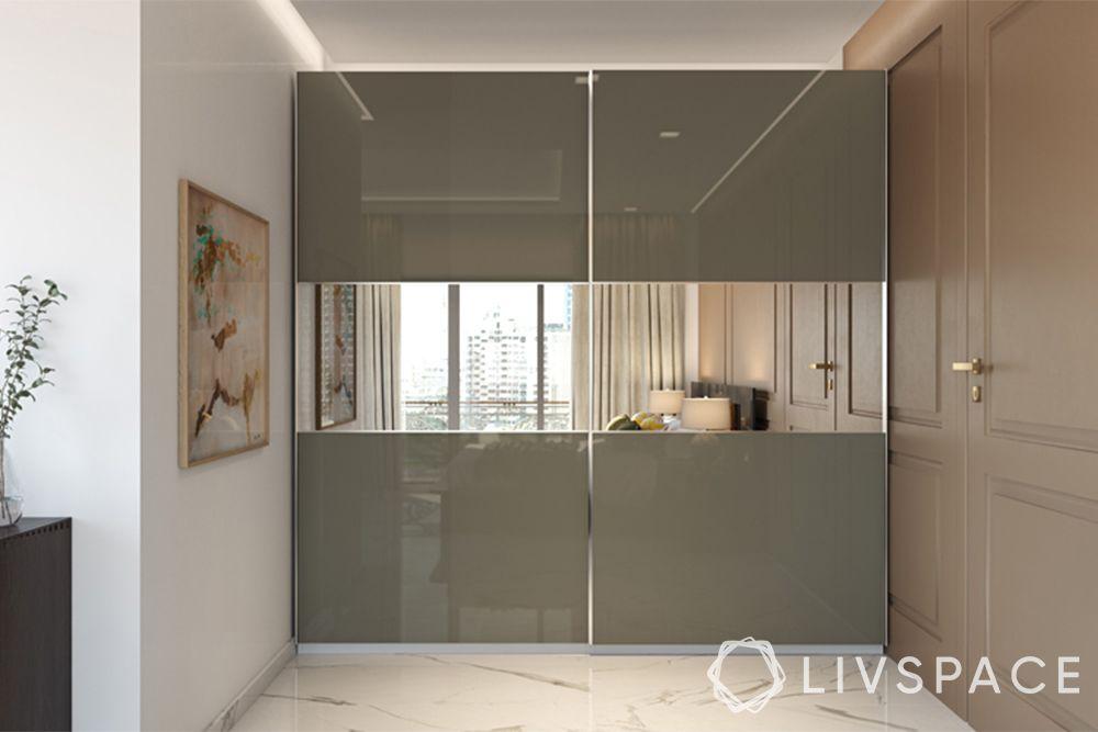 small modern house design-glossy wardrobe