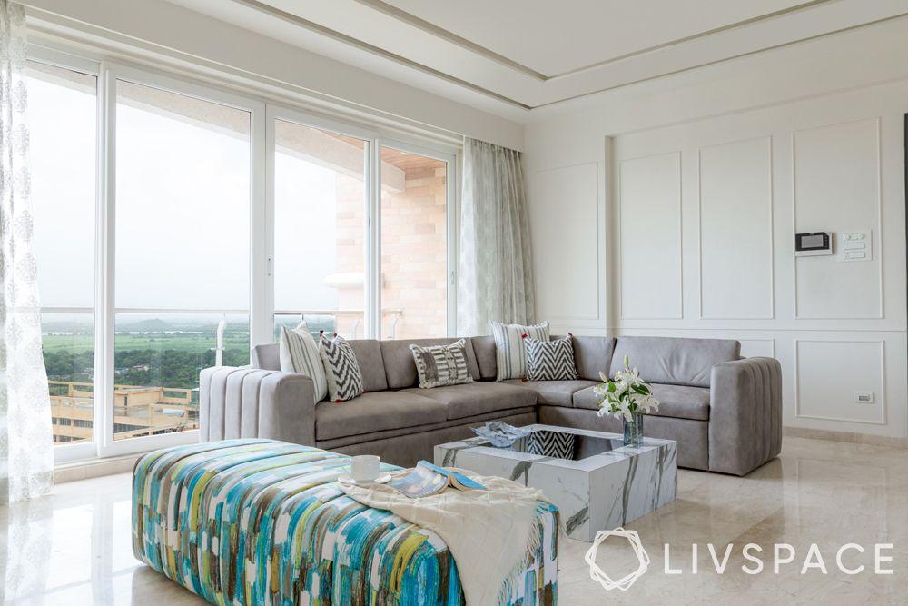 small modern house design-minimal living room-sofa-bench