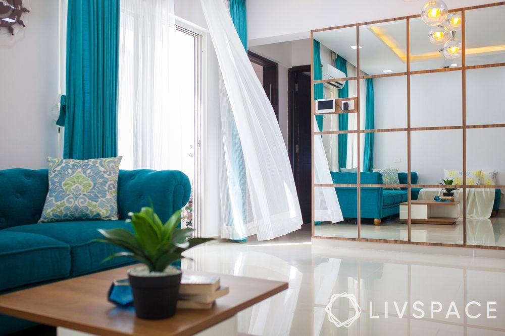 small modern house design-sheer curtains-blue curtains-floor length curtains-mirror