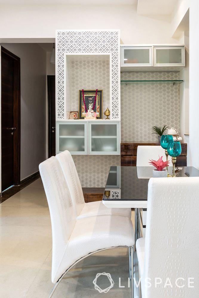 small modern house design-multifunctional unit-mandir-buffet unit-crockery unit