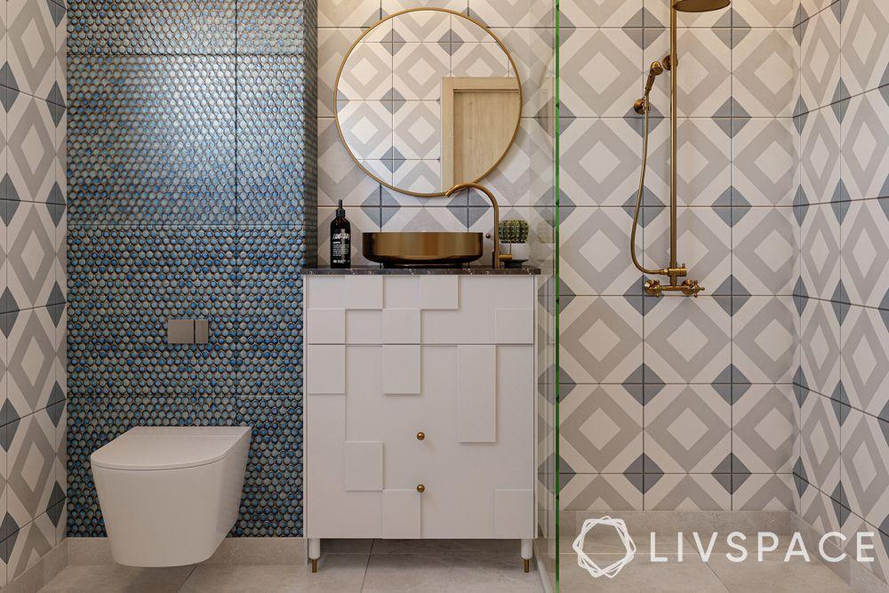 modern bathroom ideas-circular mirror-copper shower