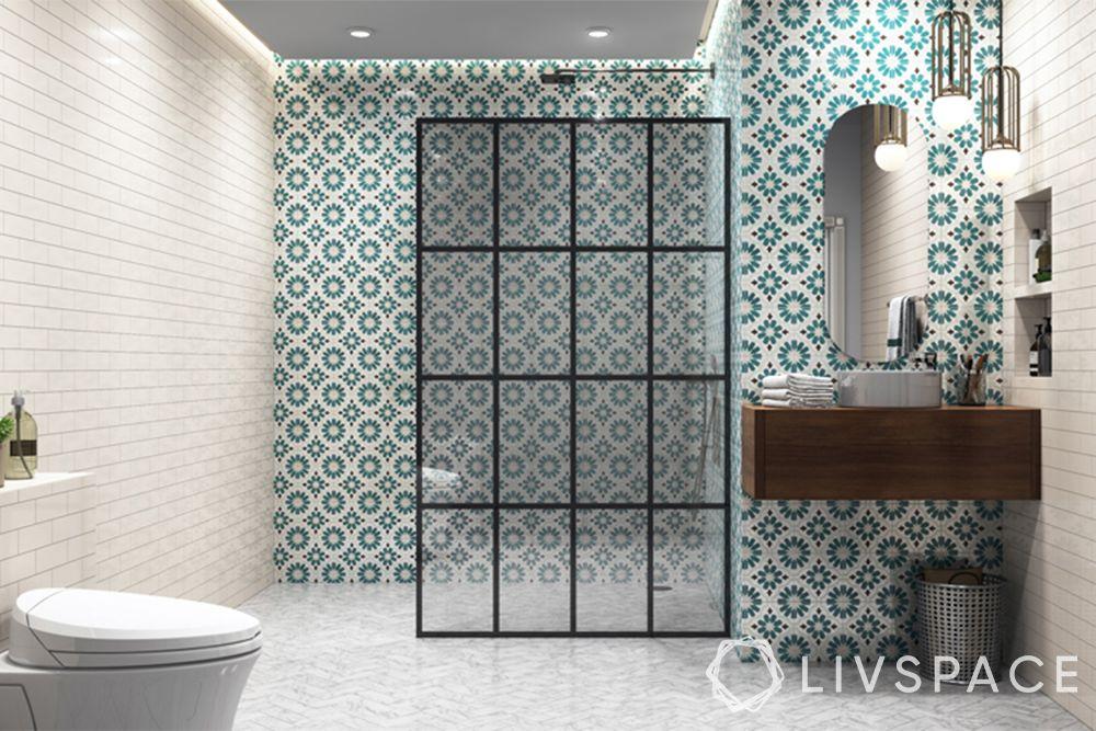 modern bathroom ideas-white brick walls-oval mirror