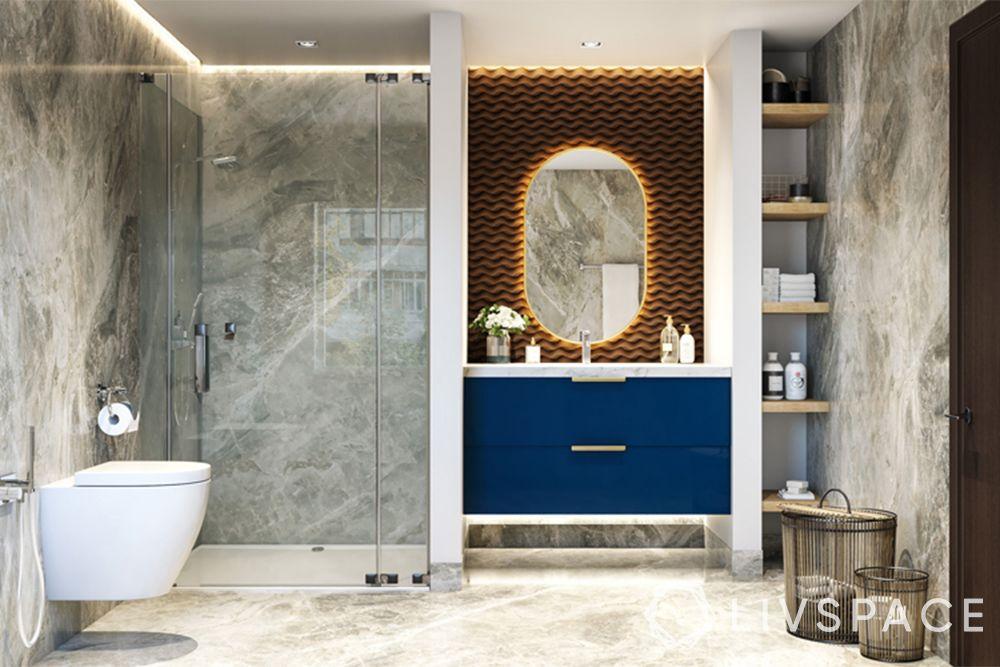modern bathroom ideas–navy vanity unit–modern backlit mirror