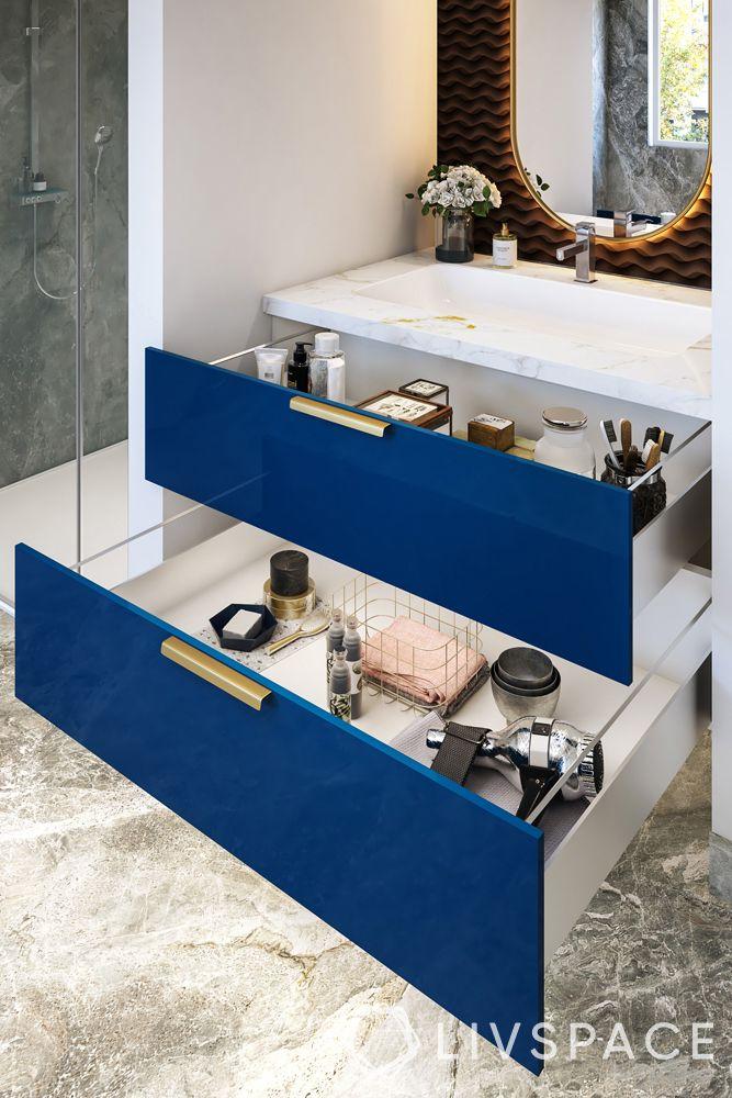 modern bathroom ideas–marbled floor–shelved storage unit