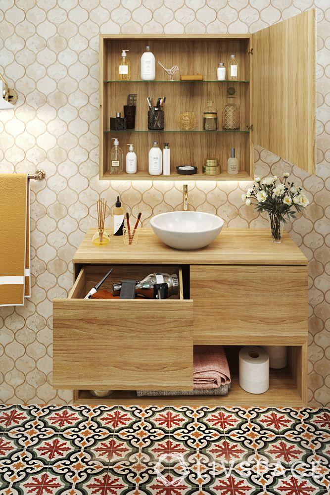 modern bathroom ideas–moroccan-tiled flooring–wooden cabinets