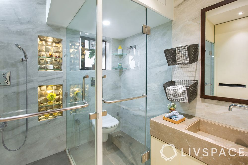 modern bathroom ideas–towel nest–separated toilet